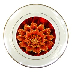 Beautiful Ruby Red Dahlia Fractal Lotus Flower Porcelain Plates by jayaprime