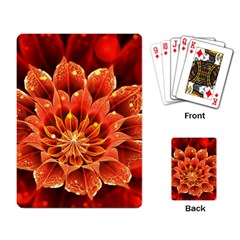 Beautiful Ruby Red Dahlia Fractal Lotus Flower Playing Card by jayaprime