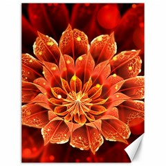 Beautiful Ruby Red Dahlia Fractal Lotus Flower Canvas 12  X 16   by jayaprime