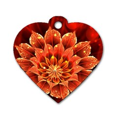 Beautiful Ruby Red Dahlia Fractal Lotus Flower Dog Tag Heart (two Sides) by jayaprime