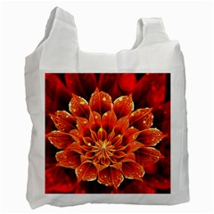 Beautiful Ruby Red Dahlia Fractal Lotus Flower Recycle Bag (one Side) by jayaprime