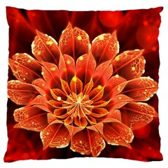 Beautiful Ruby Red Dahlia Fractal Lotus Flower Large Cushion Case (two Sides) by jayaprime