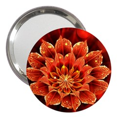 Beautiful Ruby Red Dahlia Fractal Lotus Flower 3  Handbag Mirrors by jayaprime