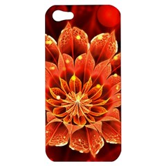Beautiful Ruby Red Dahlia Fractal Lotus Flower Apple Iphone 5 Hardshell Case