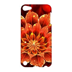 Beautiful Ruby Red Dahlia Fractal Lotus Flower Apple Ipod Touch 5 Hardshell Case by jayaprime