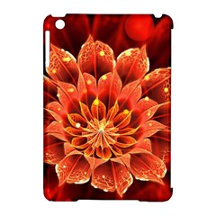 Beautiful Ruby Red Dahlia Fractal Lotus Flower Apple Ipad Mini Hardshell Case (compatible With Smart Cover) by jayaprime