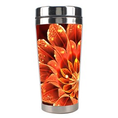 Beautiful Ruby Red Dahlia Fractal Lotus Flower Stainless Steel Travel Tumblers by jayaprime