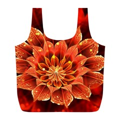 Beautiful Ruby Red Dahlia Fractal Lotus Flower Full Print Recycle Bags (l)  by jayaprime