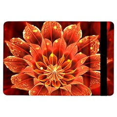 Beautiful Ruby Red Dahlia Fractal Lotus Flower Ipad Air Flip by jayaprime