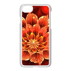 Beautiful Ruby Red Dahlia Fractal Lotus Flower Apple Iphone 7 Seamless Case (white) by jayaprime