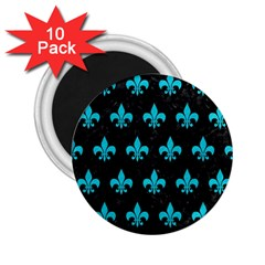 Royal1 Black Marble & Turquoise Colored Pencil 2 25  Magnets (10 Pack)  by trendistuff