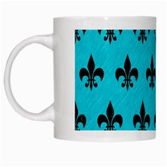 Royal1 Black Marble & Turquoise Colored Pencil (r) White Mugs by trendistuff