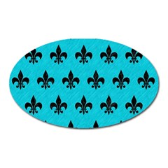 Royal1 Black Marble & Turquoise Colored Pencil (r) Oval Magnet