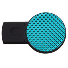 Scales1 Black Marble & Turquoise Colored Pencil Usb Flash Drive Round (4 Gb) by trendistuff