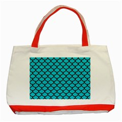 Scales1 Black Marble & Turquoise Colored Pencil Classic Tote Bag (red) by trendistuff