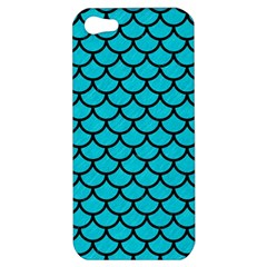 Scales1 Black Marble & Turquoise Colored Pencil Apple Iphone 5 Hardshell Case by trendistuff