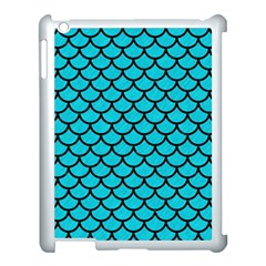 Scales1 Black Marble & Turquoise Colored Pencil Apple Ipad 3/4 Case (white) by trendistuff