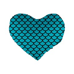 Scales1 Black Marble & Turquoise Colored Pencil Standard 16  Premium Heart Shape Cushions by trendistuff