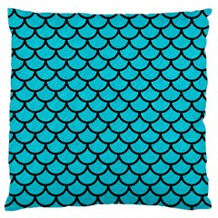 Scales1 Black Marble & Turquoise Colored Pencil Large Flano Cushion Case (one Side)