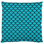 SCALES1 BLACK MARBLE & TURQUOISE COLORED PENCIL Large Flano Cushion Case (One Side) Front