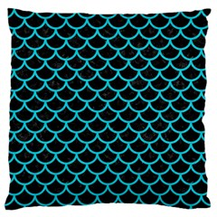 Scales1 Black Marble & Turquoise Colored Pencil (r) Standard Flano Cushion Case (one Side) by trendistuff