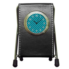 Scales2 Black Marble & Turquoise Colored Pencil Pen Holder Desk Clocks by trendistuff