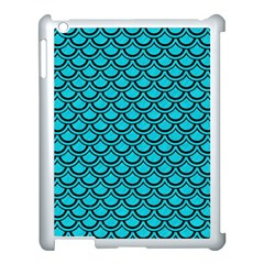 Scales2 Black Marble & Turquoise Colored Pencil Apple Ipad 3/4 Case (white) by trendistuff