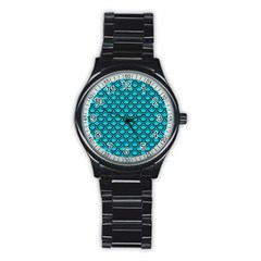 Scales2 Black Marble & Turquoise Colored Pencil Stainless Steel Round Watch by trendistuff
