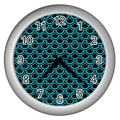 Scales2 Black Marble & Turquoise Colored Pencil (r) Wall Clocks (silver)  by trendistuff