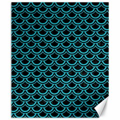 Scales2 Black Marble & Turquoise Colored Pencil (r) Canvas 8  X 10  by trendistuff