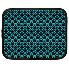 Scales2 Black Marble & Turquoise Colored Pencil (r) Netbook Case (large)