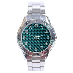 Scales2 Black Marble & Turquoise Colored Pencil (r) Stainless Steel Analogue Watch by trendistuff