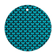 Scales3 Black Marble & Turquoise Colored Pencil Round Ornament (two Sides) by trendistuff