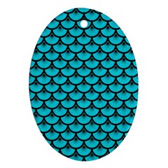 Scales3 Black Marble & Turquoise Colored Pencil Oval Ornament (two Sides) by trendistuff