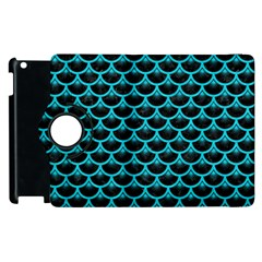 Scales3 Black Marble & Turquoise Colored Pencil (r) Apple Ipad 2 Flip 360 Case by trendistuff