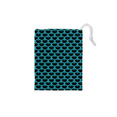 Scales3 Black Marble & Turquoise Colored Pencil (r) Drawstring Pouches (xs)  by trendistuff