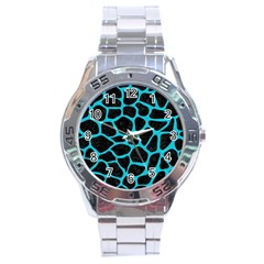 Skin1 Black Marble & Turquoise Colored Pencil Stainless Steel Analogue Watch by trendistuff