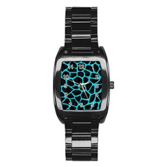 Skin1 Black Marble & Turquoise Colored Pencil Stainless Steel Barrel Watch by trendistuff