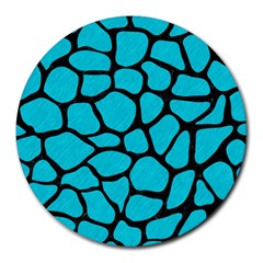 Skin1 Black Marble & Turquoise Colored Pencil (r) Round Mousepads by trendistuff