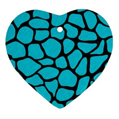 Skin1 Black Marble & Turquoise Colored Pencil (r) Heart Ornament (two Sides) by trendistuff