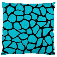 Skin1 Black Marble & Turquoise Colored Pencil (r) Large Flano Cushion Case (two Sides) by trendistuff
