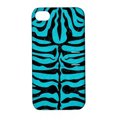 Skin2 Black Marble & Turquoise Colored Pencil Apple Iphone 4/4s Hardshell Case With Stand by trendistuff