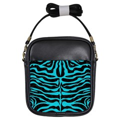 Skin2 Black Marble & Turquoise Colored Pencil (r) Girls Sling Bags by trendistuff
