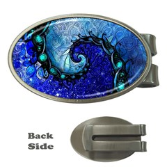 Nocturne Of Scorpio, A Fractal Spiral Painting Money Clips (oval)  by jayaprime
