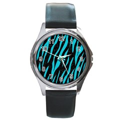 Skin3 Black Marble & Turquoise Colored Pencil (r) Round Metal Watch by trendistuff