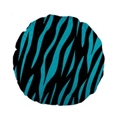 Skin3 Black Marble & Turquoise Colored Pencil (r) Standard 15  Premium Round Cushions by trendistuff