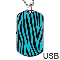 Skin4 Black Marble & Turquoise Colored Pencil (r) Dog Tag Usb Flash (one Side) by trendistuff
