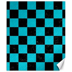 Square1 Black Marble & Turquoise Colored Pencil Canvas 20  X 24   by trendistuff