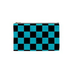Square1 Black Marble & Turquoise Colored Pencil Cosmetic Bag (small)  by trendistuff