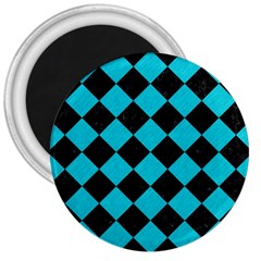 Square2 Black Marble & Turquoise Colored Pencil 3  Magnets by trendistuff